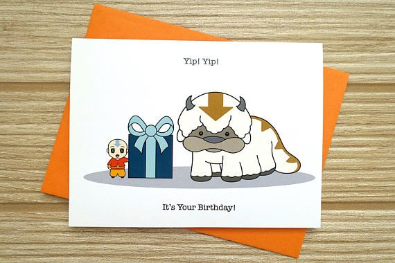 Avatar Birthday card (The Last Airbender) Appa and Aang