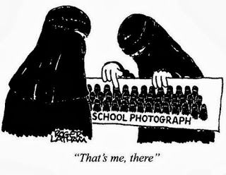 Funny Muslim cartoon - Burka women school reunion photo - That's me there