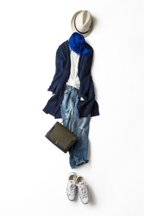 ブルー×白を楽しむ!2015-03-05    cardigan price :15,660 brand : ELFORBR    scarf price :21,600 brand : koma aoyama    hat brand : Borsalino