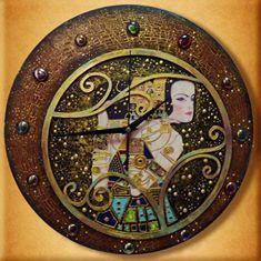 """Часы по мотивам работы Г. Климта """"Ожидание""""..."""