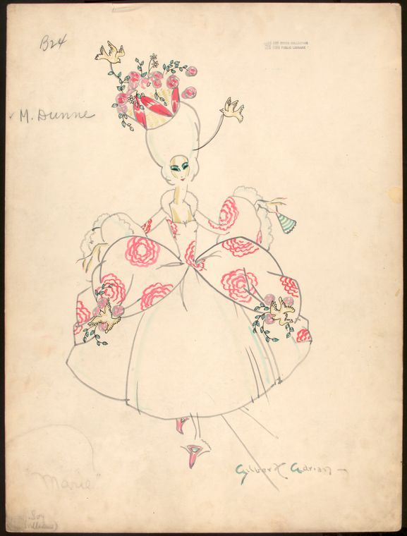 Gilbert Adrian costume designs for the Greenwich Village follies.