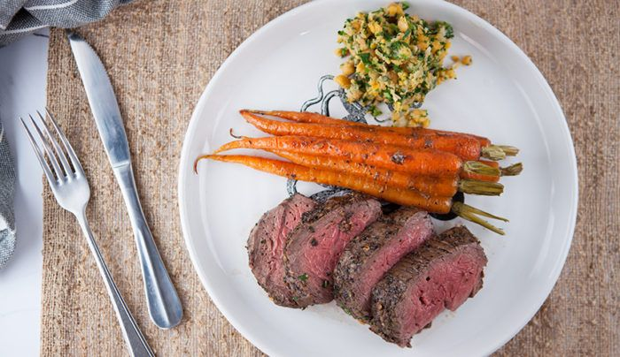 Garlic Eye Fillet with Roasted Dutch Carrots & Chickpea Mash | Good Chef Bad Chef