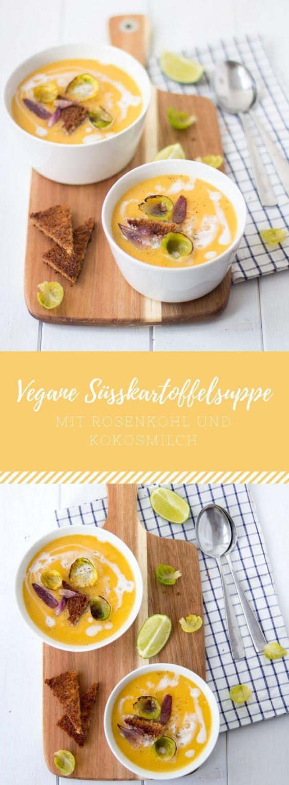 Vegane Süßkartoffelsuppe mit Rosenkohl und Kokosmilch