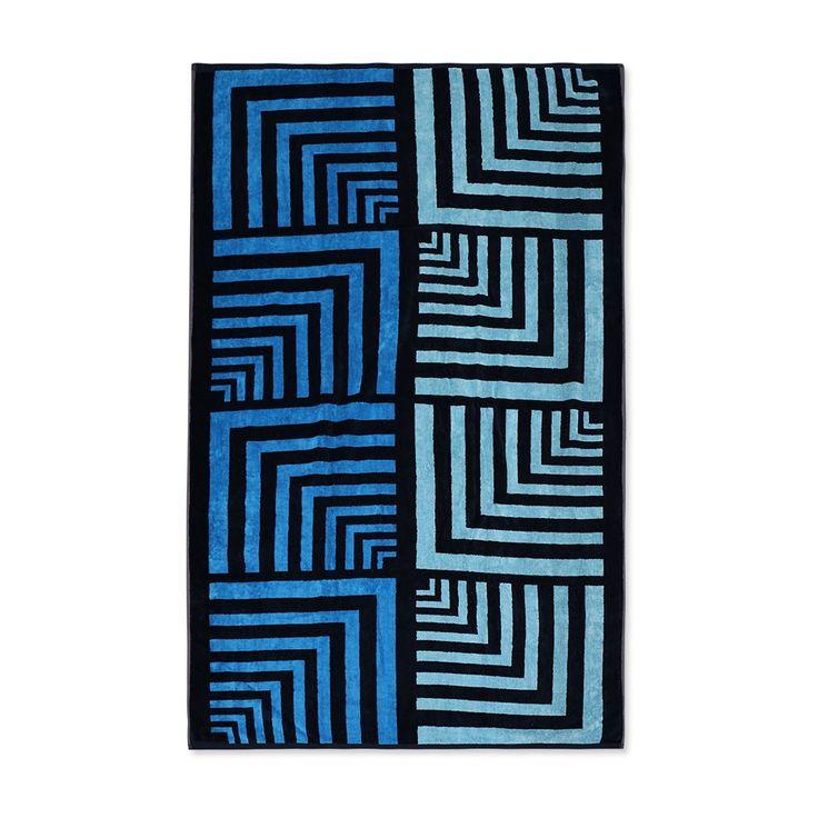 Velours Strandtuch Karo Geometric blau online kaufen