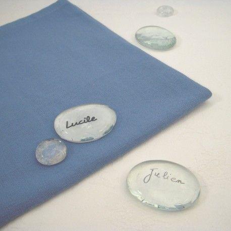 Les 6 marque-places galets en verre