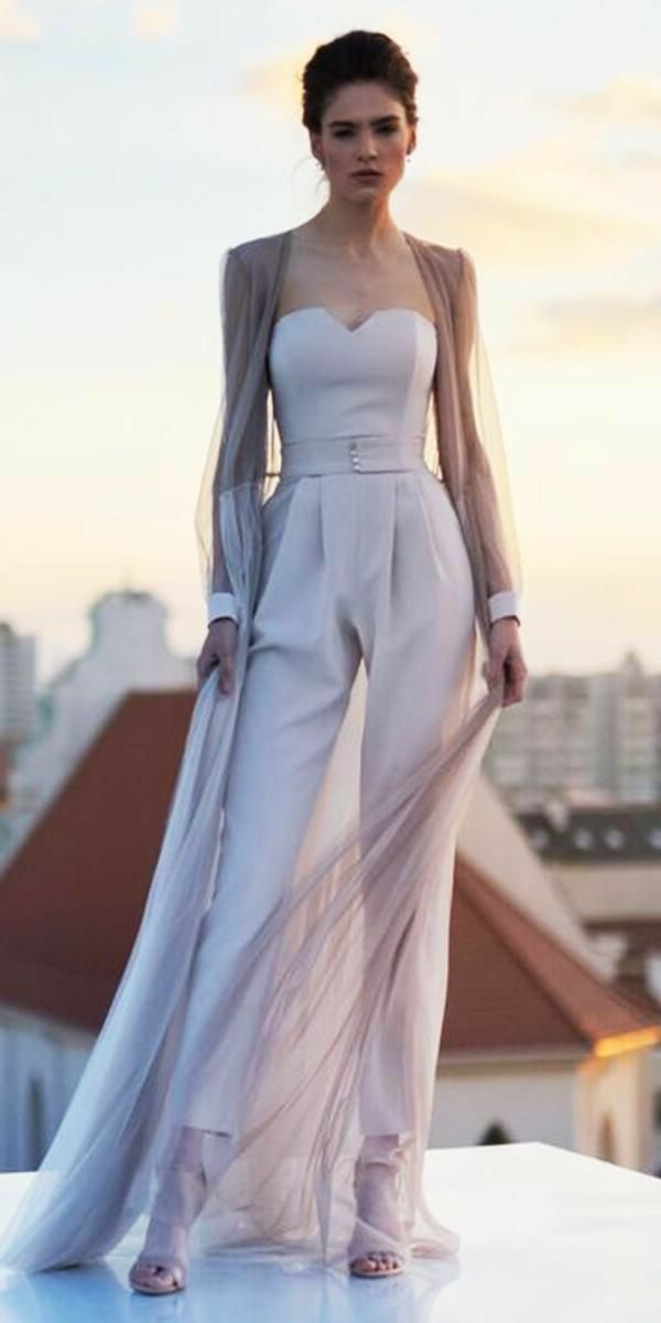 Bridal Pantsuit With Cape