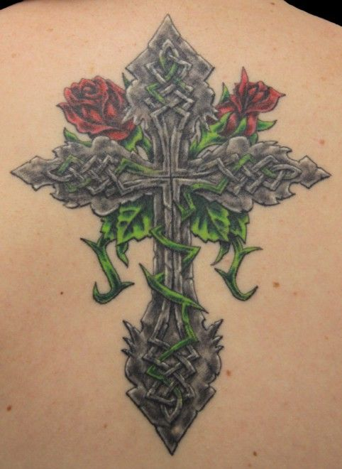 cross tattoos with roses - Google Search
