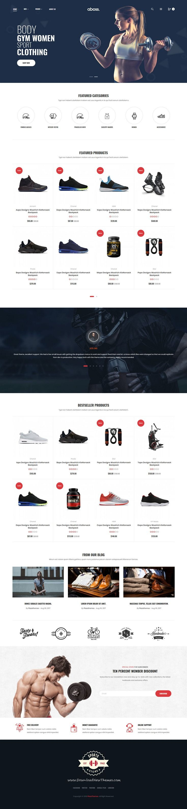 Aboss is clean and modern design 4in1 responsive #OpentCart theme for stunning #sports shop #eCommerce website to live preview & download click on Visit
