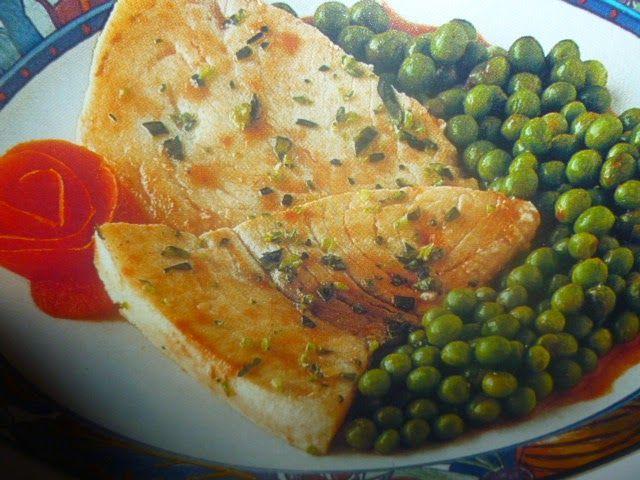 un mondo di ricette: la cucina facile - palombo con piselli