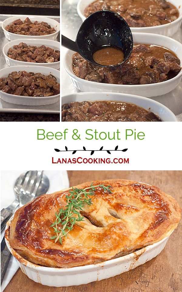 A rich, savory Beef and Stout pie with mushrooms and onions. Wonderfully comforting traditional Irish food. From @NevrEnoughThyme http://www.lanascooking.com/beef-and-stout-pie/ via @NevrEnoughThyme