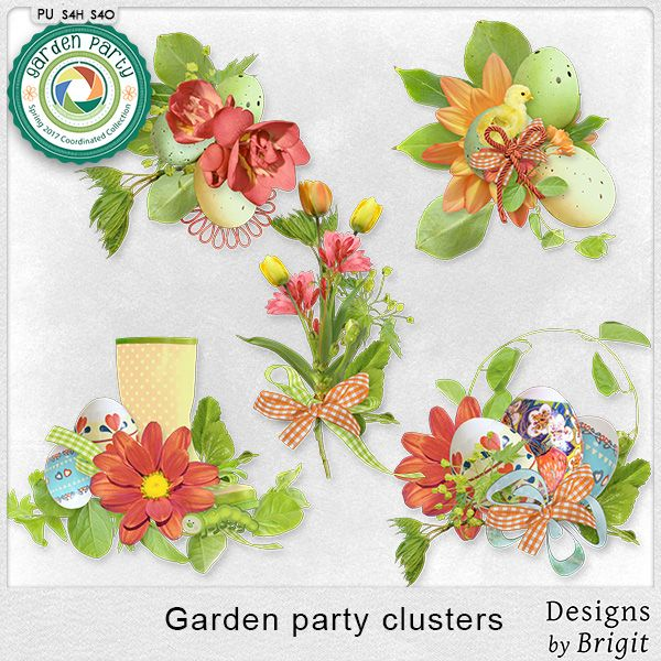 Digital Art :: Element Packs :: Garden party clusters by Designs by Brigit
