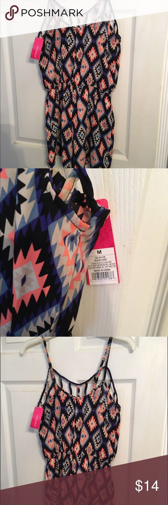 Target romper- NWT Target romper never worn! Would look cute with booties and a sweater for fall! Colors go with almost everything! Xhilaration Dresses Mini