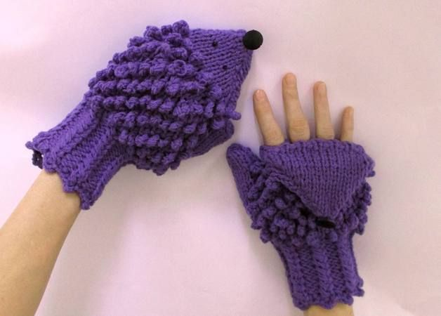 via en.dawanda.com Gloves – Convertible finger less hedgehog gloves in purple – a unique product by ateszter on DaWanda