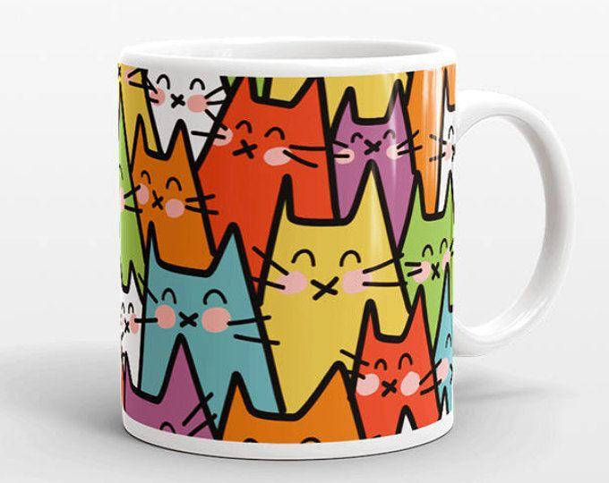 Gato taza, taza colorida taza de café, Don Gato, gato patrón taza, taza de café divertida, gato taza café, taza de Linda, única taza de café, taza de envolvente del gato