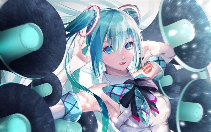 Scarica sfondi Vocaloid, Hatsune Miku, la cantante virtuale, blu brillante capelli