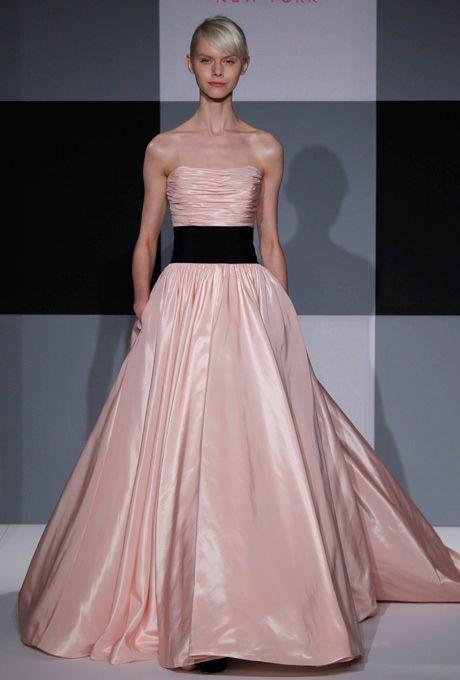 Brides.com: . Pink Wedding Dress: Isaac Mizrahi. Airbrush Pink, $2,200, Isaac Mizrahi for Kleinfeld  See more Isaac Mizrahi for Kleinfeld wedding dresses