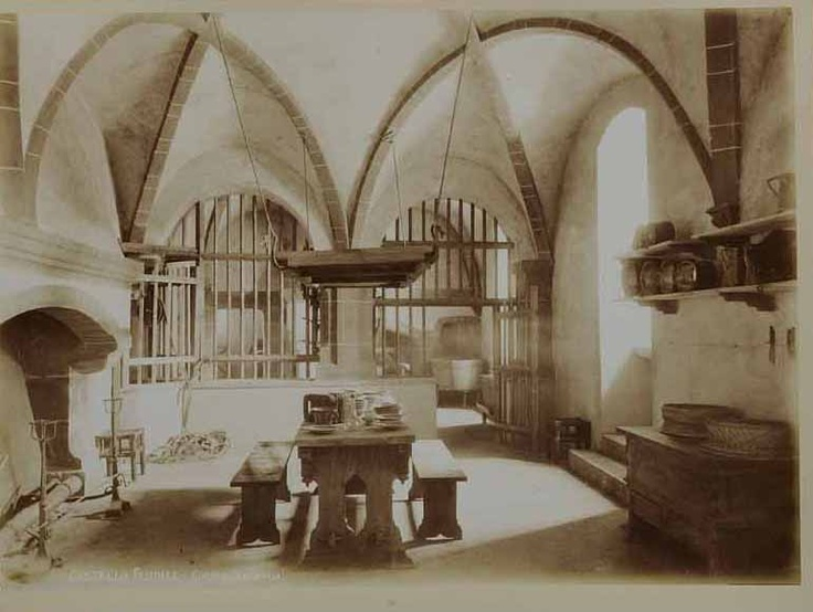 Picture from 1884. The medieval kitchen. Rocca Medievale Torino.  www.borgomedievaletorino.it