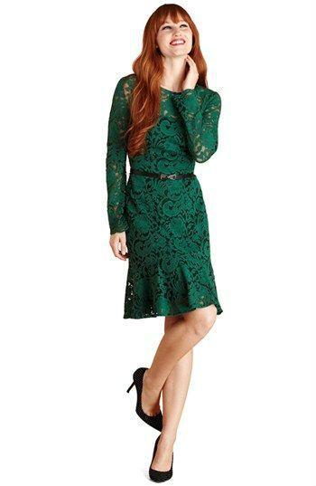 Long Sleeve Green Lace Dress