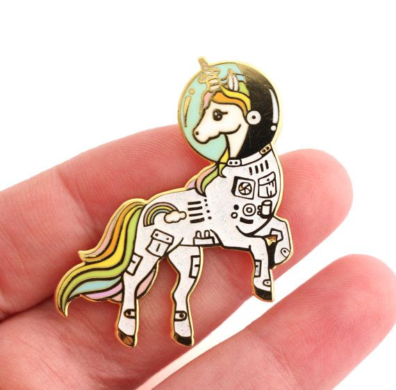 Unicorn enamel pin Gold glitter lapel pin astronaut by CompocoPop