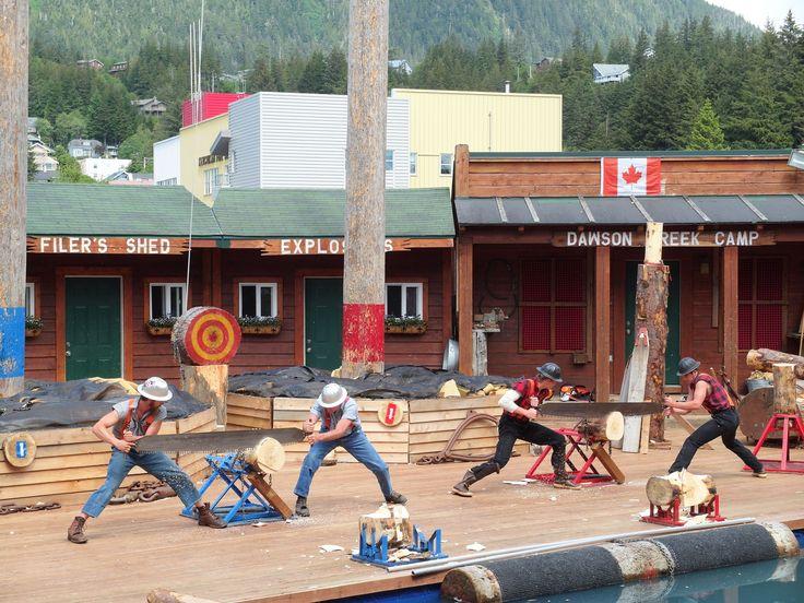 The Great Alaskan Lumberjack Show - Ketchikan, AK ...  Doubles Team Crosscut Saw competition | photo by Ben Barrett