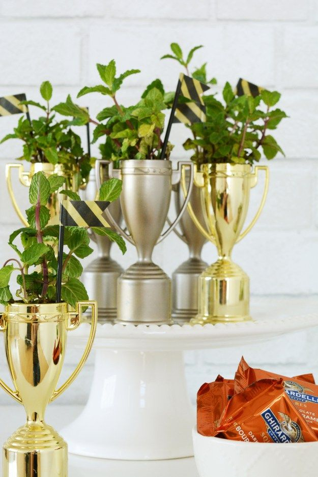 DIY Party favors for your Kentucky Derby Party - Planted mint in trophies by Oleander + Palm