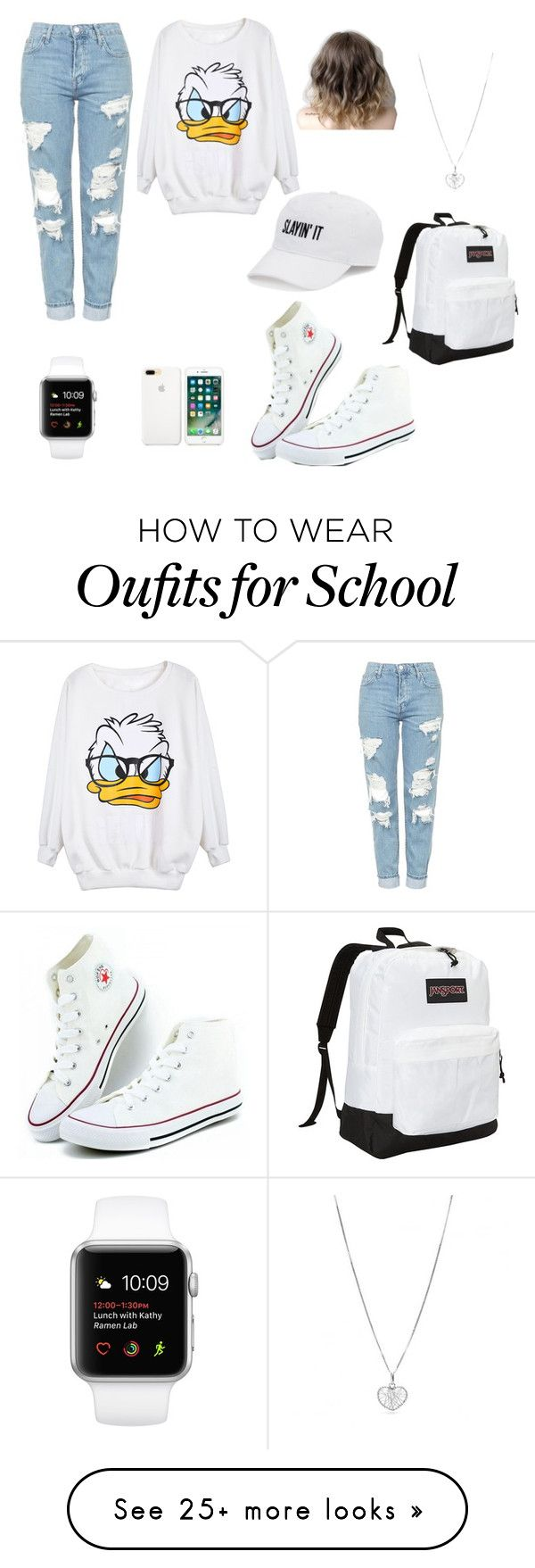 """""""Donald duck sweatshirt"""" by naynay1747 on Polyvore featuring SO, Topshop and JanSport"""