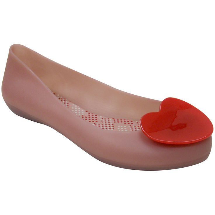 Mel By Melissa Pop Heart Pink And Red Vegan Rubber Flats