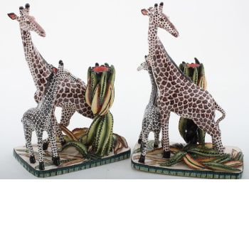 Ardmore Ceramics Giraffe Candlesticks Pair