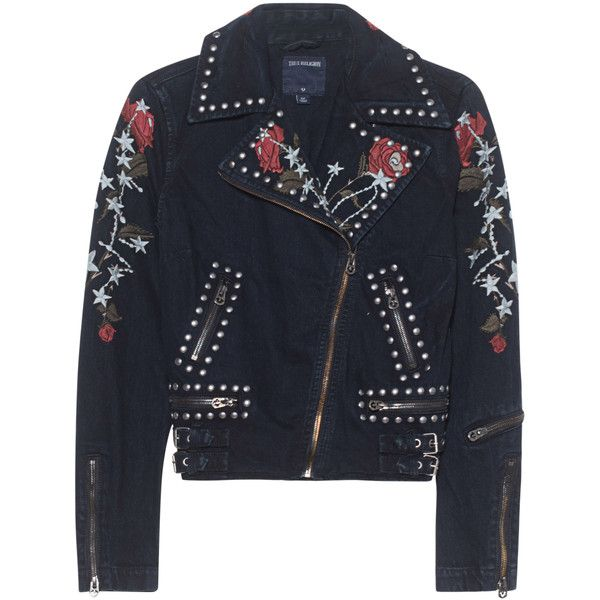 TRUE RELIGION Moto Jacket Crow Black // Denim jacket with embroidery (£340) ❤ liked on Polyvore featuring outerwear, jackets, studded jacket, studded denim jacket, denim jacket, embroidered jacket and jean jacket