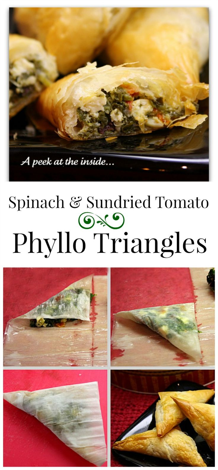 Spinach and Sun-dried Tomato Filled Phyllo Triangle appetizers recipe