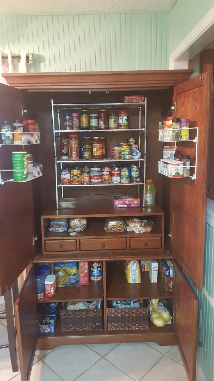 Turned An Entertainment Center Into A Pantry Center Entertainment Pantry Turned Kitchen Pantry Design Pantry Design Kitchen Design Centre