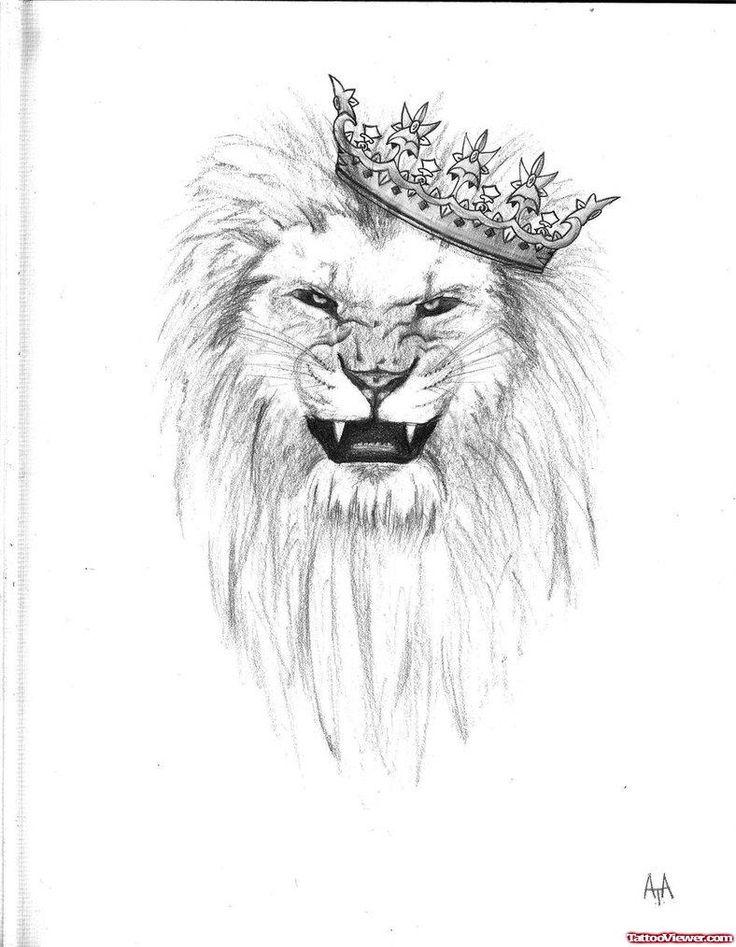 Crown Lion Head Tattoo Design