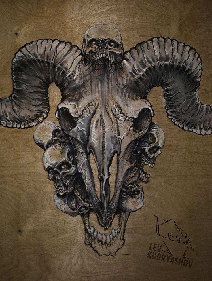 Эскиз тату. Арт. Череп. Tattoo sketch. Art. Skull. Ram