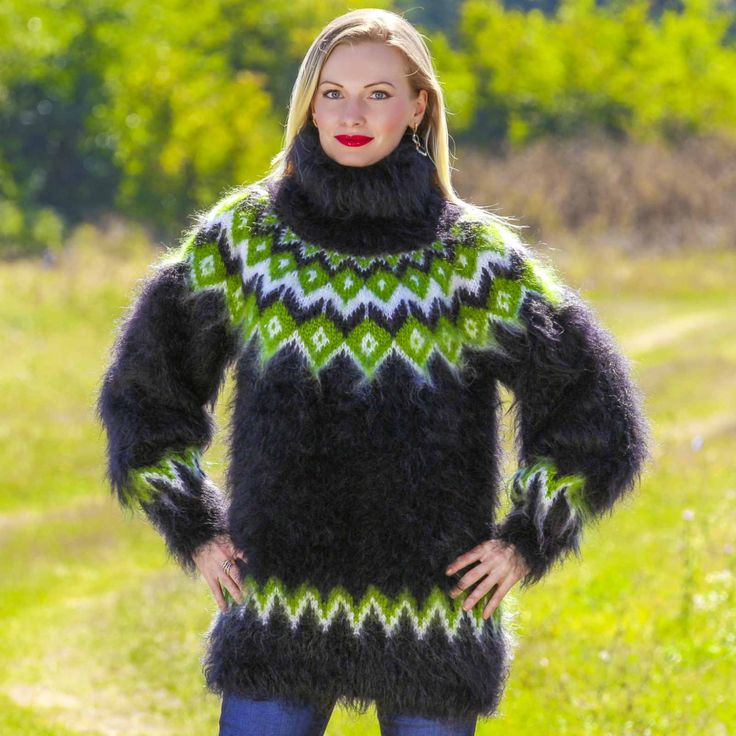 Made to order hand knitted mohair sweater with Nordic pattern, size S, M, L, XL