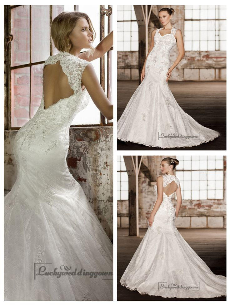STUNNING STRAPS TRUMPET LACE WEDDING DRESSES WITH KEYHOLE BACK