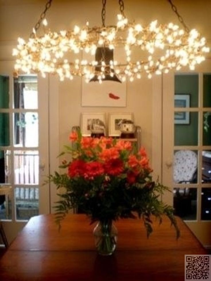 18. DIY Hoop #Chandelier - 34 DIY Chandeliers to #Light up Your Life ... → DIY #Crystal