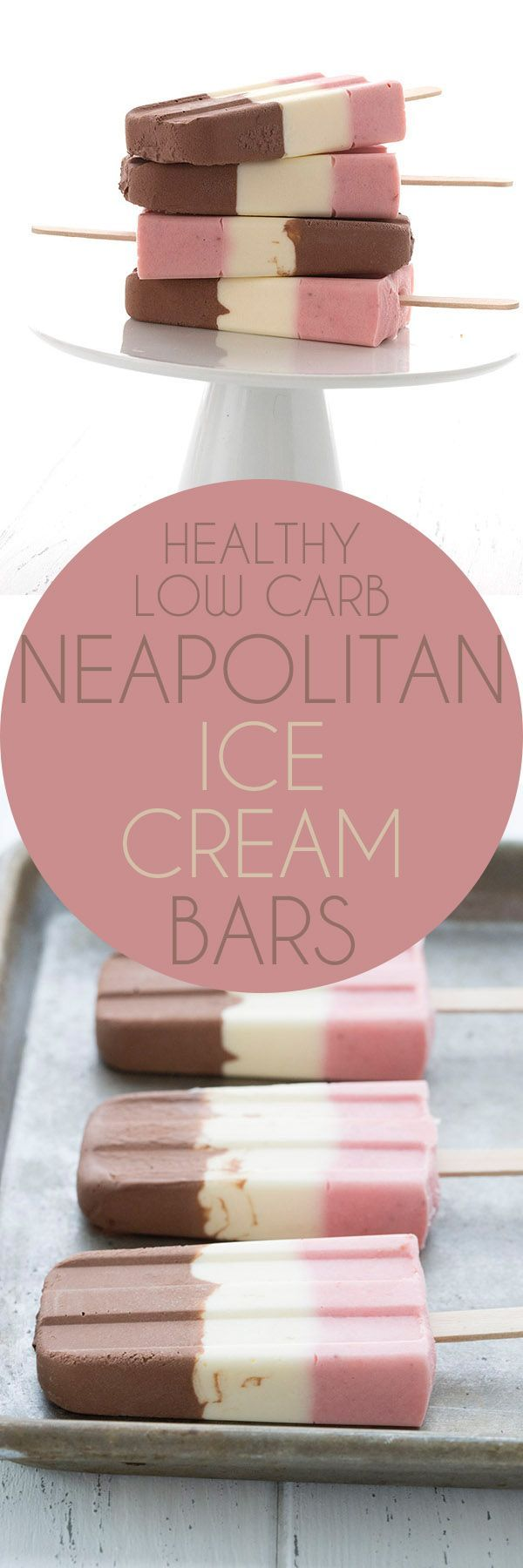 Relive your childhood with these easy and healthy low carb Neapolitan Ice Cream Bars! A delicious keto summer treat. via @dreamaboutfood