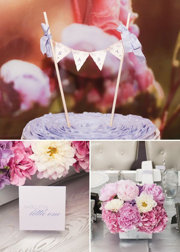 Pink, lavender, and grey baby shower colors.