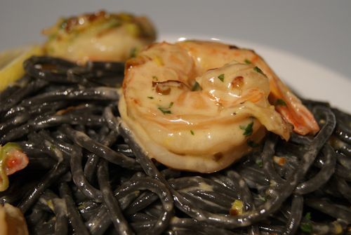 Squid Ink Spaghetti with Shrimp and Lemon Cream Sauce. Making this on Monday.