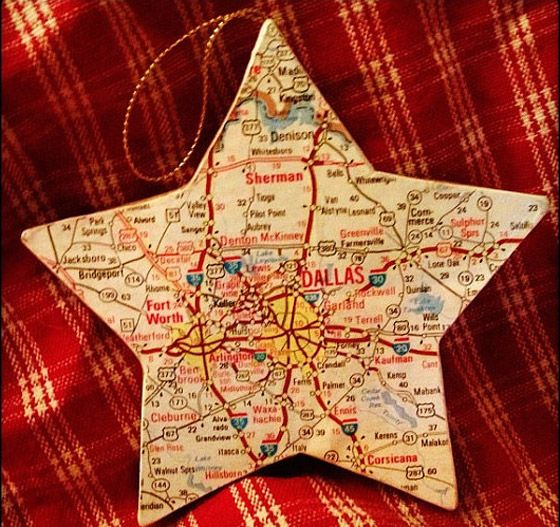 DIY Christmas ornament. Use a map of the state or country you grew up in, favorite vacation spot, town you got married, etc.....great as a gift!!