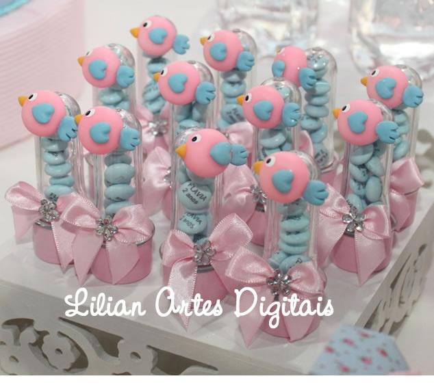 Lembrancinhas Infantis, Convites Infantis, Personalizados, Guloseimas, Aniversario: MINI TUBETES COM APLIQUE DE BISCUIT - FESTA PASSARINHO AZUL E ROSA