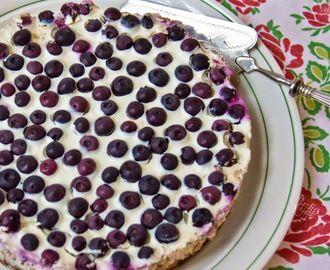 Cheesecake met citroen en blauwe bessen