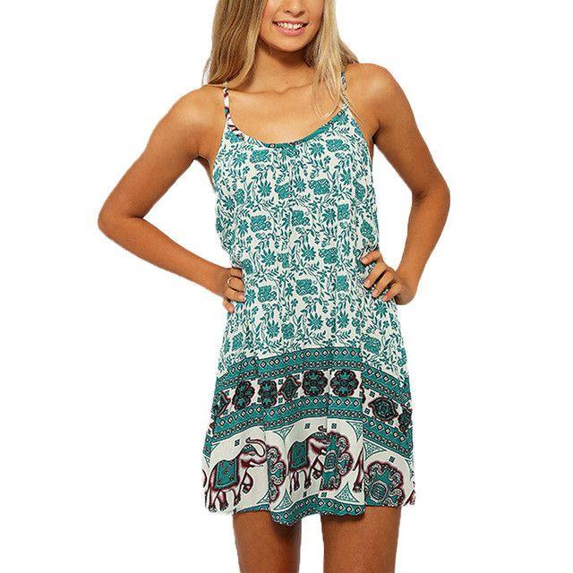 New Sexy Women Sun Dress Vestidos Femininos Vintage Floral Elephant Print Spaghetti Strap Sleeveless Swing Beach Mini Dress