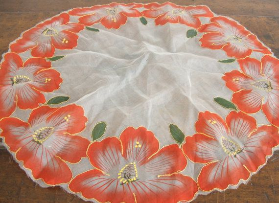 Funky old sheer linen (might be silk??) small tablecloth or large doily in white, red, green and gold; very nice for Christmas or Asian decor.