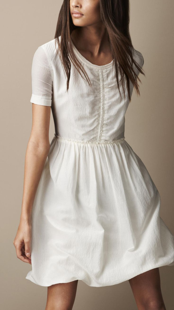 Gathered Waist Silk Cotton Dress | Burberry