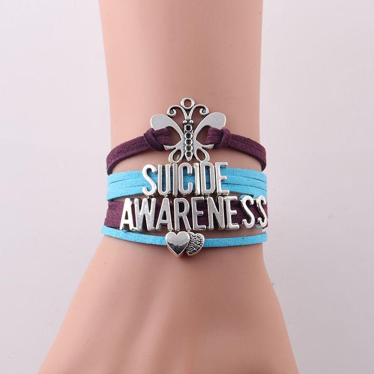 Little Minglou Suicide Awareness Bracelet Butterfly heart charm suede wrap men bracelets & bangles for women jewelry