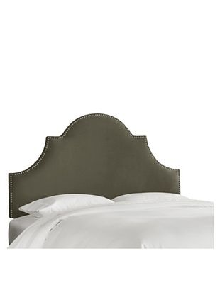 53% OFF Skyline High Arch Nail Button Velvet Headboard (Pewter)