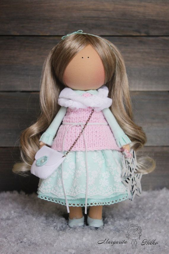 Hand made doll, blonde, pink, green, Nursery decor, Home, Gift, Baby doll, Decoration doll, unique magic doll by Master Margarita Hilko