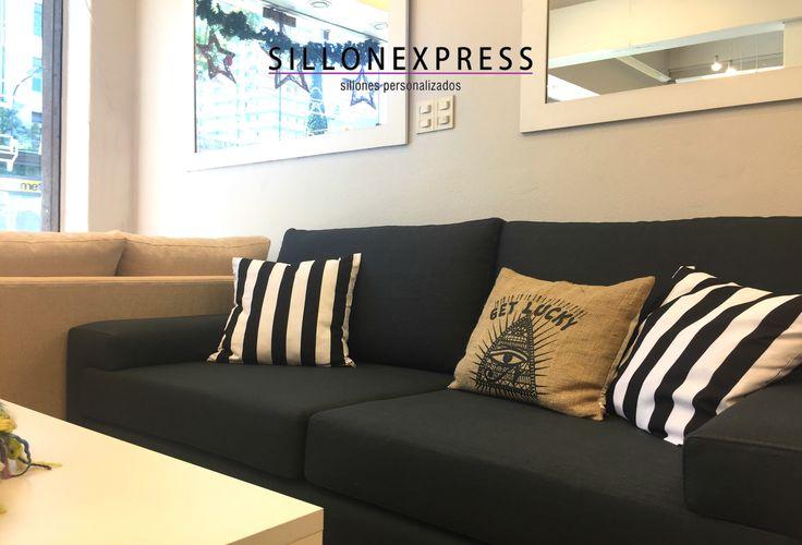 Sofa Modelo Ginevra 3 Cuerpos 1.90 x 0.90mts tapizado en lino gris oscuro :) COMPRA EN STOCK O PERSONALIZALO AL MEJOR PRECIO! #sillon #sofa #sillonexpress #fábrica
