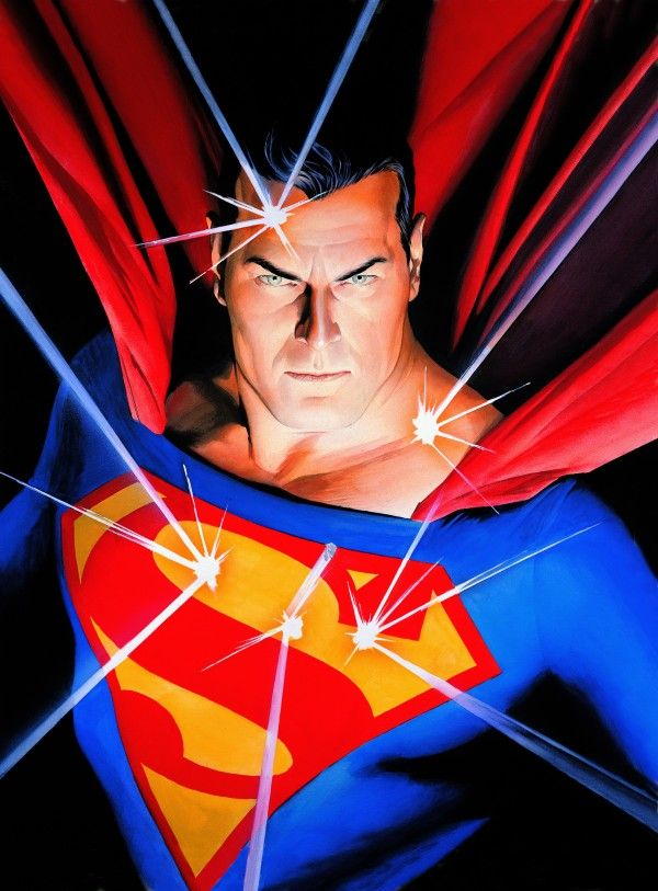 Super-héros : l'art d'Alex Ross à la Mona Bismarck American Center for Art & Culture. Alex Ross Mythology: Superman, 2005 Impression sur toile Collection d'Alex Ross. TM& ©DC Comics Tous droits réservés